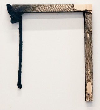Untitled, 2012, tights on wood, 50 x 50 x 4 cm