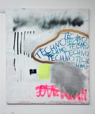 I LOVE BERLIN, 2015-16, acrylic, spray, marker, polaroid on wood, 130 x 120 cm