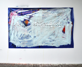 Samodeyatelnost, 2016, acrylic, spray on plastic fabric, 150 x 200 cm